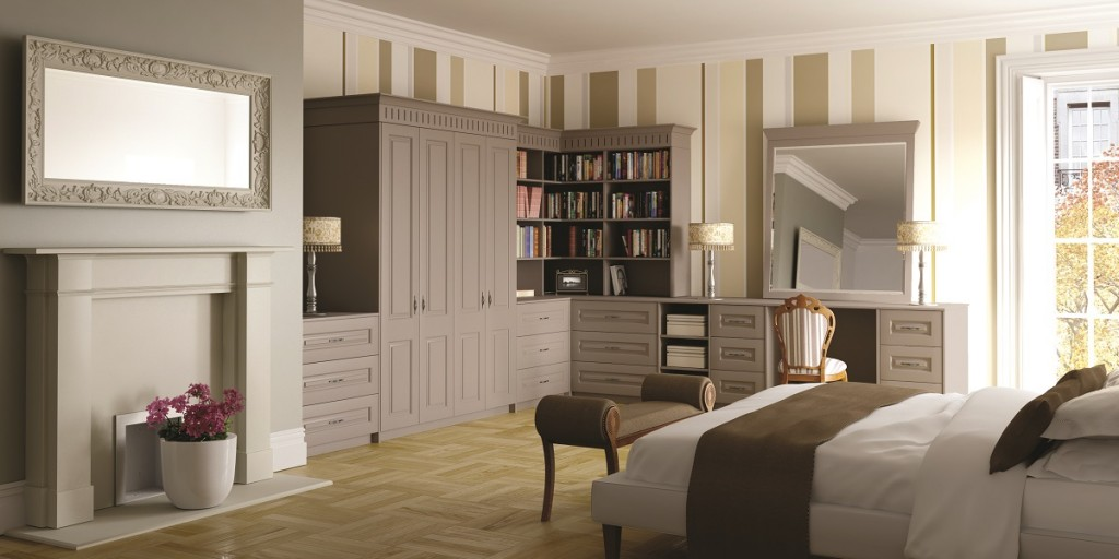 grey traditional fitted wardrobes